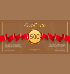 Gift certificate with red award ribbon template vector