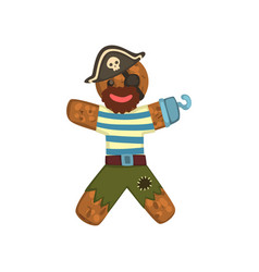 Gingerbread man in costume of pirate christmas vector
