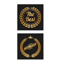 golden laurel wreath in two versions vector image
