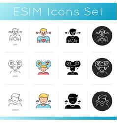 Good and bad feelings icons set vector