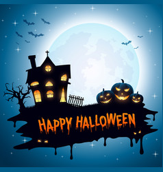 Halloween background with pumpkins and church vector