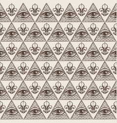hand drawn seamless pattern with all-seeing eye vector image