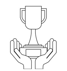 hands holding trophy award cup vector image