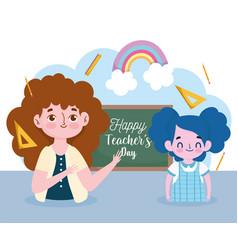 happy teachers day student girl and teacher vector image