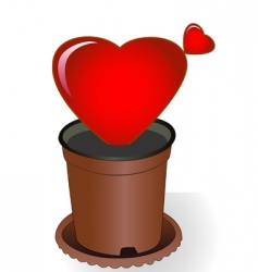 heart in flowerpot vector image
