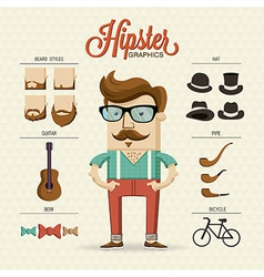 Hipster character with hipster elements and vector image