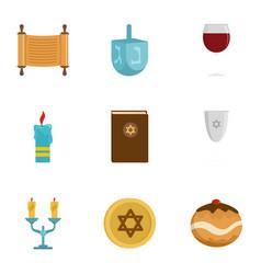 Israel icon set flat style vector
