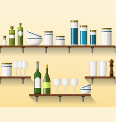 Kitchen shelving with tableware seamless part 4 vector