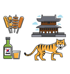 Korean culture set vector