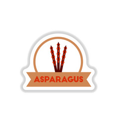 Label icon on design sticker collection asparagus vector