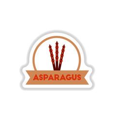 Label icon on design sticker collection asparagus vector