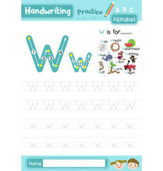 Letter w uppercase and lowercase tracing practice vector