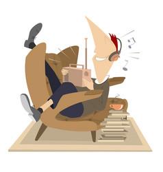 Man radio headphones armchair coffee or tea vector