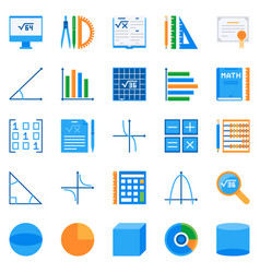 math flat icons colorful mathematics vector image