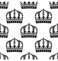 medieval royal crowns seamless pattern vector image