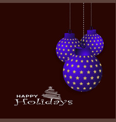 merry christmas hanging ball background vector image