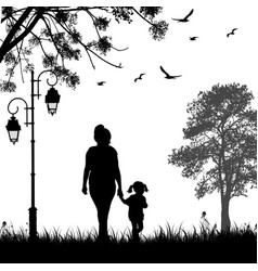 Mother and daughter silhouette walking together vector