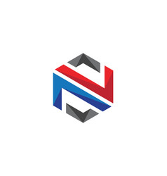 n logo hexagon icon vector image