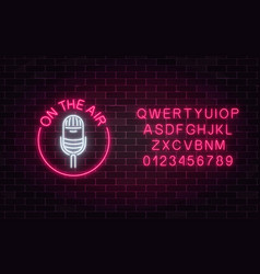 Neon on the air sign of microphone in round frame vector