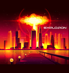 Nuclear weapon explosion in city cartoon vector