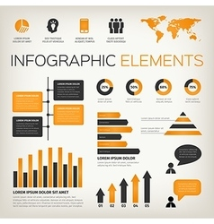 Orange set of infographic elements vector