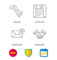 Outbox mail message and handshake icons vector