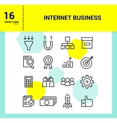 Outline icons set of internet business vector