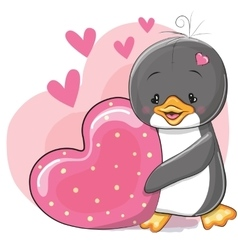 Penguin with heart vector