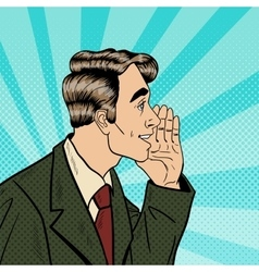 Pop Art Business Man Whispering Secrets vector image