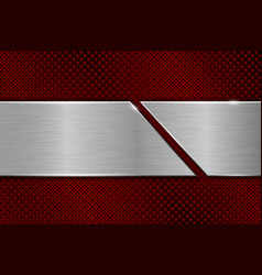 Red metal perforated background with cut brushed vector