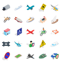 rent transport icons set isometric style vector image