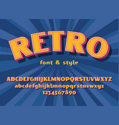 Retro font and graphic style vector