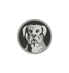 Rottweiler Guard Dog Head Circle Black and White vector image