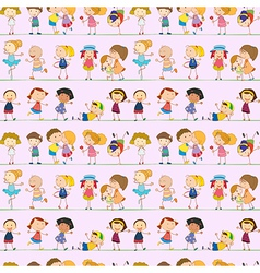 Seamless design with kids vector image