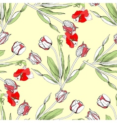 Seamless pattern with amaryllis and tulip-03 vector
