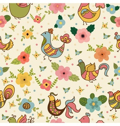 Seamless pattern with colored flowers and birds vector image