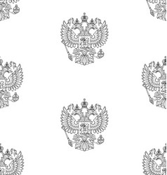 seamless pattern with russian outlined coat arm vector image