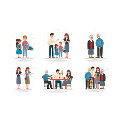 set happy family vector image