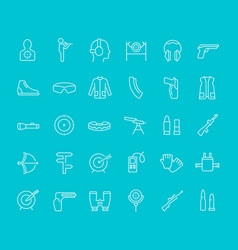Set line icons sport shooting vector