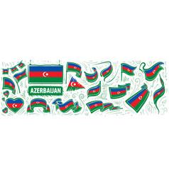 Set national flag azerbaijan vector