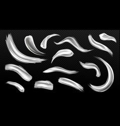 silver brush strokes metal paint smears isolated vector image