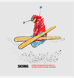 Skiing freestyle athlete in fly position with vector