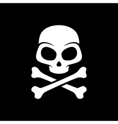 skull on black background vector image