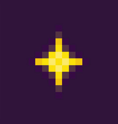 Space pixel game yellow star or burst vector