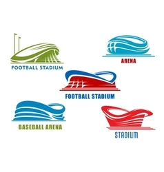 Sport arenas and stadiums building icons vector