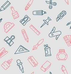 Stationery tools seamless pattern thin line style vector image