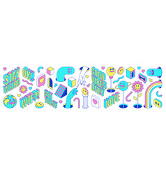 Sticker pack funny cartoon characters words vector