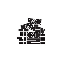 stock of money black concept icon stock of vector image