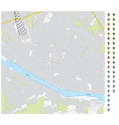 street map downtown florence with pin pointers vector image