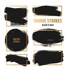 Strokes abstract backhground set black vector